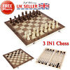 Folding wooden chess 3 in 1 set
