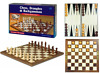 Folding 3 in 1 wooden chess set