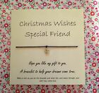 Tibetan Charm Friendship Wish string Bracelet & Christmas Gift Message Card.