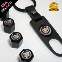 Black CAR Wheel Tyre Tire Valves Dust Stems Air Caps + Keychain Cadillac Emblem