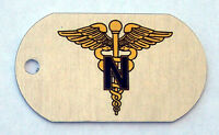 Nurse Corps Branch Insignia on an Aluminum Dog Tag Key Fob Necklace Made in USA