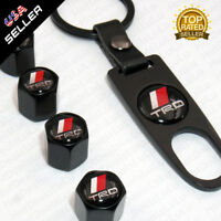 Black CAR Wheel Tyre Tire Valves Dust Stems Air Caps + Keychain With TRD Emblem