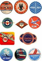 Vintage Style Airline Travel Suitcase Luggage Labels Set Of 12 vinyl stickers
