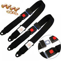 2x Adjustable Seat Belt Car Truck Lap Belt Universal 2 Point Safety Travel Black