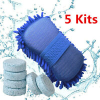 5x  Exterior Interior Car Cleaning Kit Wash Brush Glove + Solid Window Wash Tab