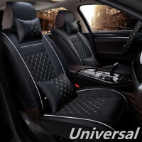 Deluxe Black Car Front Seat Covers Decor White Stitch PU Leather w/ 4 Pillows