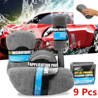 Car Wash Cleaning Kit Auto Care Wash Sponge Wash Glove Wheel Brush Universal 9pc