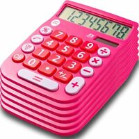 8 Digit Dual Powered Desktop Calculator with Large LCD Display, Pink (Pack of 6)