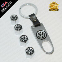 Silver Car Wheels Tire Valve Dust Stems Air Caps + Keychain With VW Emblem