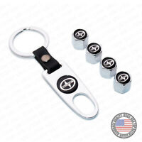 Silver Car Wheels Tire Valve Dust Stems Air Caps + Keychain Scion Logo Emblem