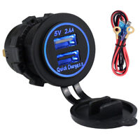 Dual USB Auto Car 2.4A Charger Dash Power Socket Quick Charge 3.0 Blue LED Cable