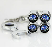4x Car Tyre Stems Air Cover Valve Caps + Wrench Keychain Key ring For all Auto