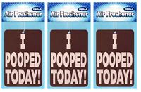 3 Count I Pooped Today Hanging Air Freshener Auto Home Vanilla Scented