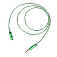 2x Green+Grey Earphone Extension Wire Universal Fit For Laptop Desktop PC