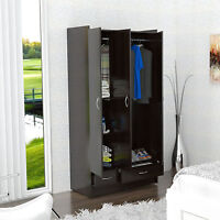 Brown Storage Wardrobe Armoire Multi-Shelf Clothing Rod Home Bedroom Furniture
