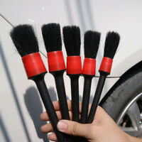 5* Natural Boar Hair Car Auto Wheels Detailing Cleaning Brush Set Convenient