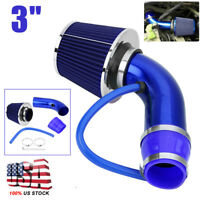 Universal Car Cold Air Intake Filter Alumimum Induction Pipe Hose System Blue 3