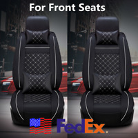 From US Deluxe Black Car Front Seat Covers Decor White Stitch PU Leather +Pillow
