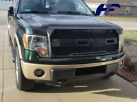 For 2009-2014 Ford F150 Front Grill Raptor Style Conversion F&R w/LED MATT BLACK