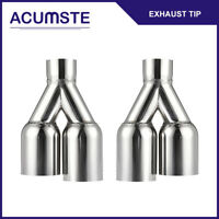 Pair Polished Dual Exhaust Tips Pipe Stainless Steel 2.5