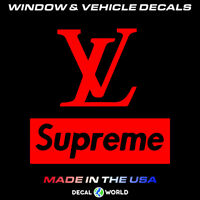 Louis Vuitton and Supreme - Car window, toolbox, and laptop sticker / decal
