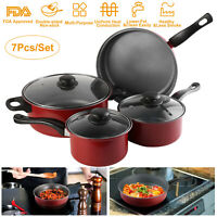 Nonstick 7 Piece Kitchen Cookware Set Red Pots And Pans Home Kitchenware Fry Pan