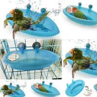 US Bird Water Bath Tub For Pet Bird Cage Hanging Bowl Parrots Parakeet Birdbath