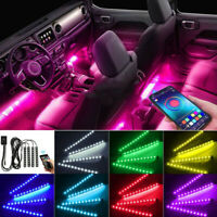 Car Interior Lights LED Strip Light 4pcs 36 LED DIY Color Music for Smart Phone