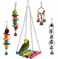 5pcs Bird Ladder Swing Toys Play Set fun Colorful Hanging Bells for Bird Cages