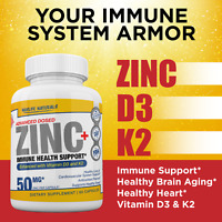 Zinc Picolinate 50mg + Vitamin K2 (MK7) w/ Vitamin D3 IMMUNE HEALTH SUPPORT 60ct
