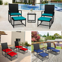 5 PCS Outdoor Patio Rattan Wicker Furniture Bistro Chair Table Set Cushioned