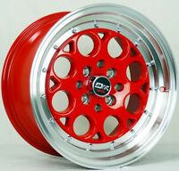 4 DRIFT L431 DR5 WHEELS 15X8 +25 OFFSET 4X100+4X114.3 C.B 73.1 RED MACHINE LIP J