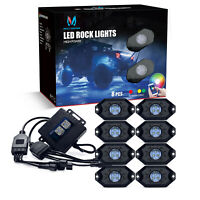 MICTUNING 8x Pods RGB LED Rock Light Offroad Wireless Bluetooth Music Controller