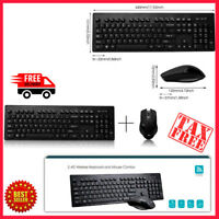 Keyboard And Mouse Wireless Combo Set Black Slim Size For Desktop Sealed NEW