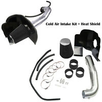 Cold Air Intake Kit + Heat Shield Fit GMC 14-17 Sierra 1500 5.3L 6.2L V8 Black