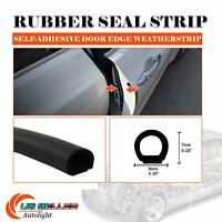 192'' Black D-Type Adhesive 1/4''x3/8'' Rubber Seal Strip Edge Trim Weatherstrip