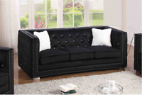 Black Velour Sofa Love Seat Chair Living Room Furniture Tufted Home Furnishings