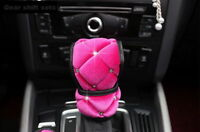 New Pink Crystal Plush Cute Car Gear Shift Cover Accessories Interior Styling