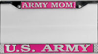 US Army MOM  Silver on Red  Chrome License Plate Frame Made in USA w/Bracelet