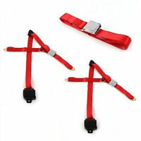 Jeep Commando 1966 - 1973 Airplane 3pt Red Retractable Bench Seat Belt Kit - 3