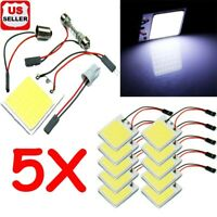 5-Pack 48 SMD COB White Panel LED T10 Car Interior Panel Light Dome Lamp Bulb w7
