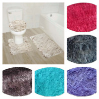 NEW FURRY SOFT DESIGN 3PC BATHROOM SET BATH RUG CONTOUR MAT TOILET LID COVER #9
