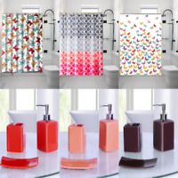 1PC PRINTED BATHROOM BATH SHOWER CURTAIN WITH HOOKS NEW DESIGNS 72