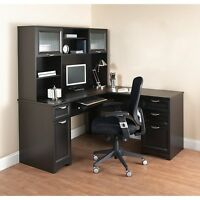 NEW L-Shaped Office DESK with HUTCH Computer Executive Corner Table Furniture BK