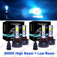 4PCS Combo 9005 9006 LED Headlight Bulbs Kit High & Low Beam 144W 8000K Ice Blue