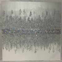 Z Gallerie Inspired | Glitter GLAM Wall Art Canvas | Grey/ Silver White Ombré
