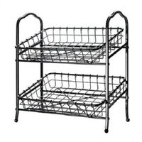DISPLAY STAND 2 Tier Wrought Iron Fruit Baskets Stand Snack Supplies Kitchen