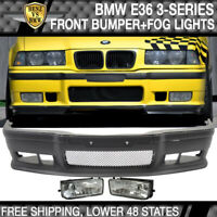 Fits 92-98 BMW E36 M3 Style PP Full Front Bumper Conversion Body Kit + Clear Fog