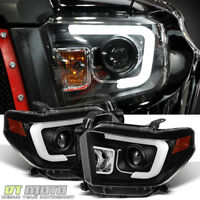 For 2014-2017 Toyota Tundra LED DRL Black Projector Headlights Left+Right 15 16