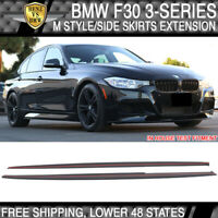 Fits 12-18 BMW 3-Series F30 PP M Style Side Skirts Extension Splitter